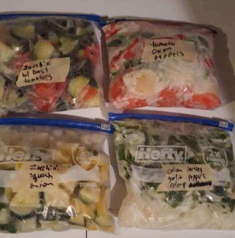 Fresh farmer's market vegetables prepared for meals
