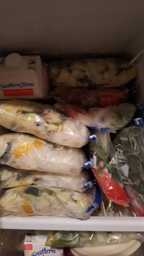 Freezer bags of side dishes